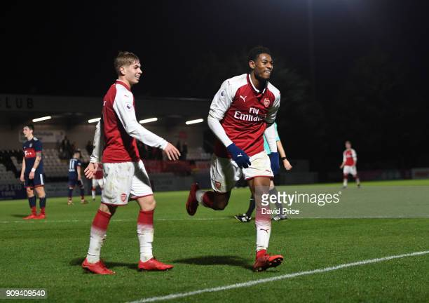 Jeff ReineAdelaide celebrates scoring Arsenal's 4th goal during the Premier League International Cup Match between Arsenal and Bayern Munich at...