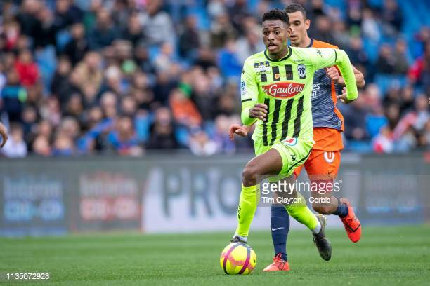 Jeff ReineAdelaide of Angers defended by Ellyes Skhiri of Montpellier during the Montpellier V Angers French Ligue 1 regular season match at Stade de...