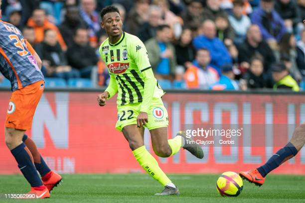 March 10: Jeff Reine-Adelaide of Angers in action during the Montpellier V Angers, French Ligue 1 regular season match at Stade de la Mosson on March...