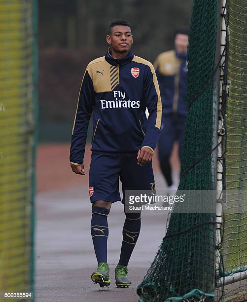 Jeff ReineAdelaide of Arsenal before a training session at London Colney on January 23 2016 in St Albans England