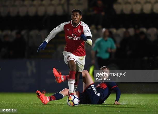Jeff ReineAdelaide of Arsenal bursts past Felix Gotze of Bayern during the Premier League International Cup Match between Arsenal and Bayern Munich...
