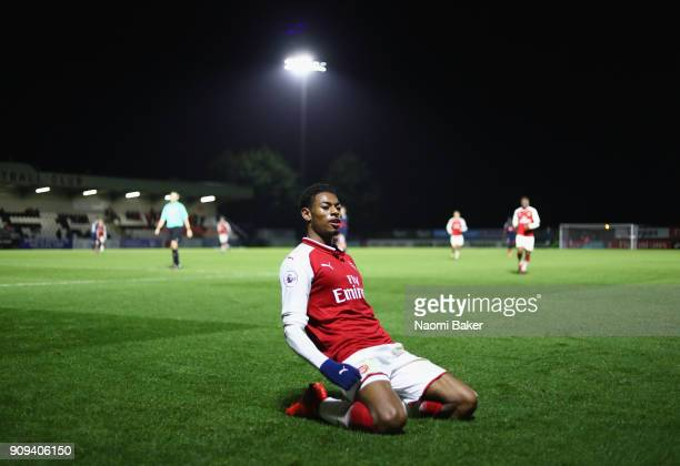 Jeff ReineAdelaide of Arsenal celebrates after scoring his sides fourth goal during the Premier League International Cup match between Arsenal and...