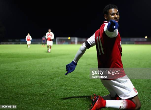 Jeff Reine-Adelaide of Arsenal celebrates after scoring his sides fourth goal during the Premier League International Cup match between Arsenal and...