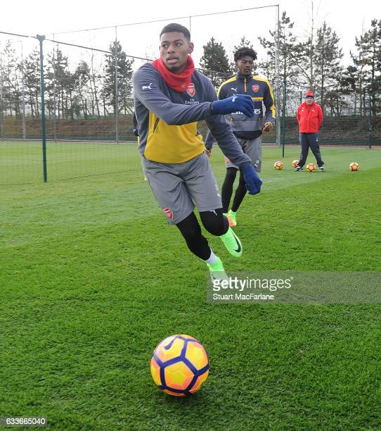 Jeff ReineAdelaide of Arsenal during a training session at London Colney on February 3 2017 in St Albans England