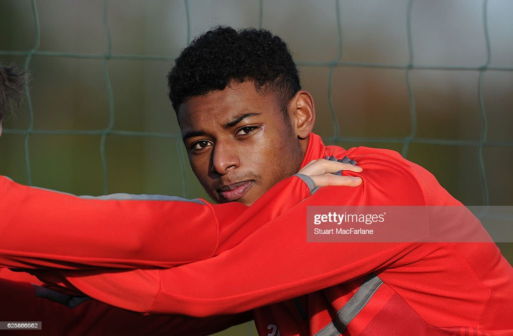 Jeff Reine-Adelaide of Arsenal during a training session in preparation for the Premier League match against AFC Bournemouth at London Colney on November 26, 2016 in St Albans, England.