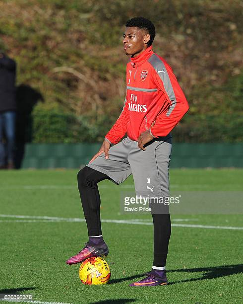 Jeff ReineAdelaide of Arsenal during Arsenal Training Session at London Colney on November 29 2016 in St Albans England
