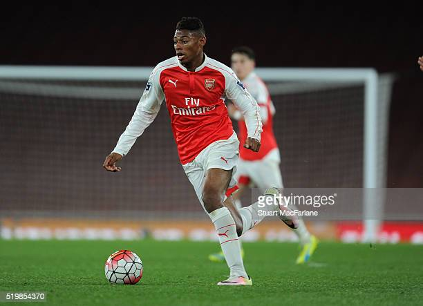 Jeff ReineAdelaide of Arsenal during the Barclays Premier League match between Arsenal and Newcastle United at Emirates Stadium on April 8 2016 in...