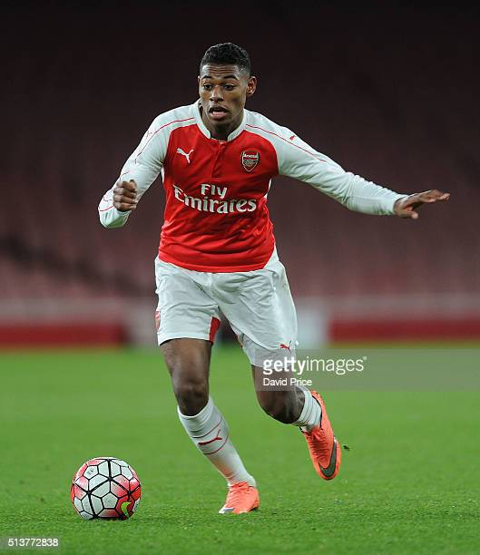 Jeff ReineAdelaide of Arsenal during the match between Arsenal U18 and Liverpool U18 in the FA Youth Cup 6th round at Emirates Stadium on March 4...