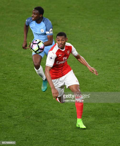 Jeff ReineAdelaide of Arsenal during the Premier League 2 match between Arsenal and Manchester City at Emirates Stadium on March 13 2017 in London...