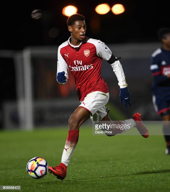 Jeff ReineAdelaide of Arsenal during the Premier League International Cup Match between Arsenal and Bayern Munich at Meadow Park on January 23 2018...
