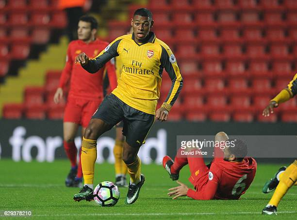 Jeff ReineAdelaide of Arsenal during the Premier League match between Arsenal and Stoke City at Anfield on December 12 2016 in Liverpool England