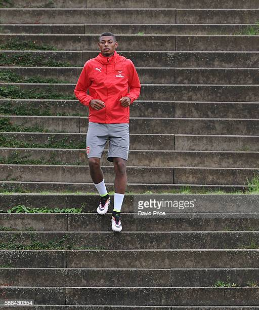 Jeff ReineAdelaide of Arsenal during the training session at Gothia Park Academy on August 6 2016 in Gothenburg Sweden