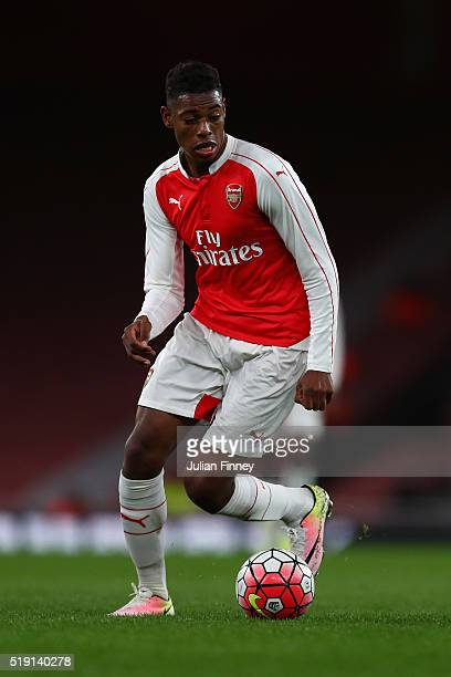 Jeff ReineAdelaide of Arsenal in action during the FA Youth Cup semifinal second leg match between Arsenal and Manchester City at Emirates Stadium on...