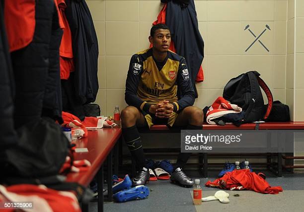 Jeff ReineAdelaide of Arsenal in the changingroom before match between West Ham United U21 and Arsenal U21 at Boleyn Ground on December 14 2015 in...