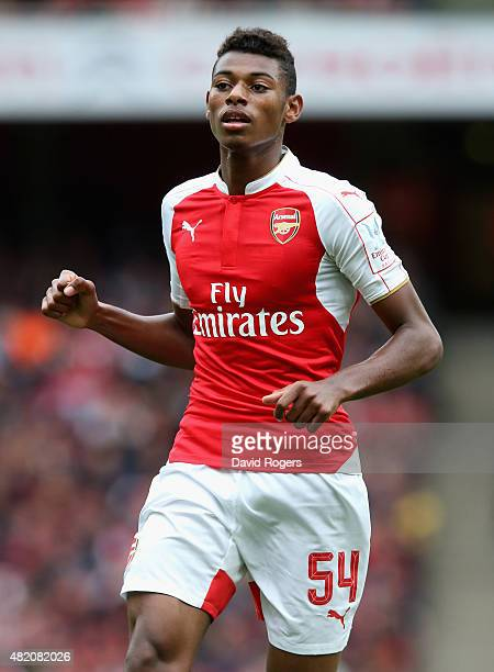 Jeff ReineAdelaide of Arsenal looks on during the Emirates Cup match between Arsenal and VfL Wolfsburg at the Emirates Stadium on July 26 2015 in...