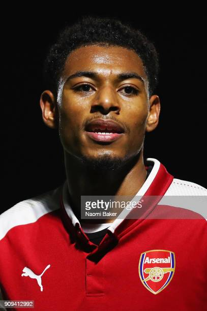 Jeff ReineAdelaide of Arsenal looks on during the Premier League International Cup match between Arsenal and Bayern Munich at Meadow Park on January...