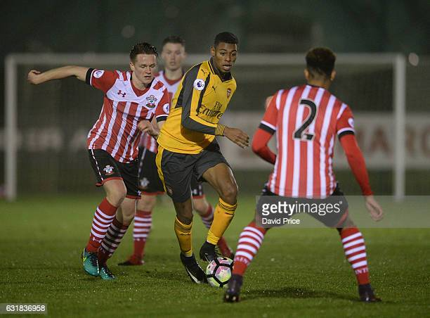 Jeff ReineAdelaide of Arsenal takes on Armani Little of Southampton during the match between Southampton U23 and Arsenal U23 at Southampton Training...