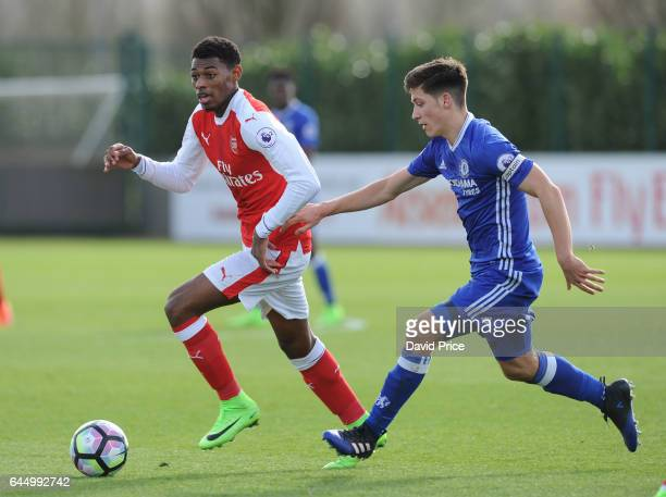 Jeff ReineAdelaide of Arsenal takes on Ruben Sammutt of Chelsea during the match between Arsenal U23 and Chelsea U23 at London Colney on February 24...
