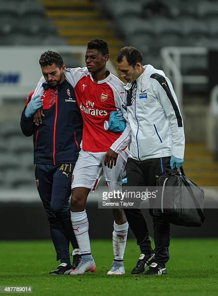 Jeff ReineAdelaide of Arsenal walks off the pitch injured during the U21 Premier league match between Newcastle United and Arsenal at StJames Park on...