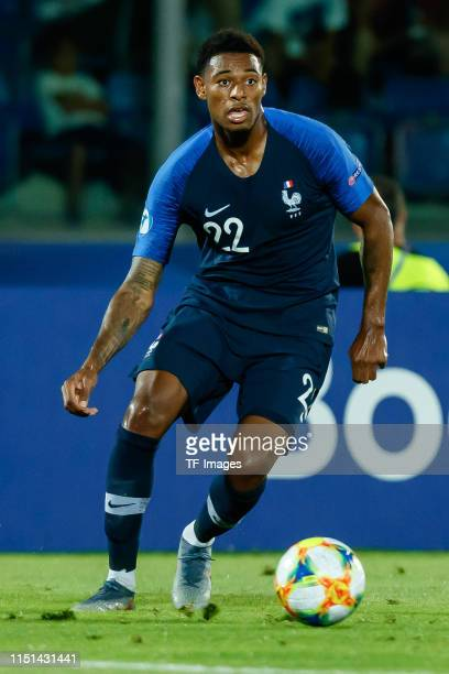 Jeff Reine-Adelaide of France controls the ball during the 2019 UEFA U-21 Group C match between France and Croatia at San Marino Stadium on June 21,...