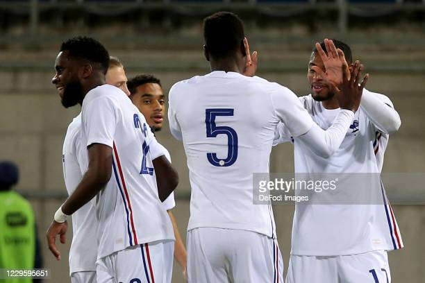 Jeff Reine-Adelaide of France U21 celebrates after scoring his team's fourth goal with teammates during the UEFA Euro Under 21 Qualifier match...