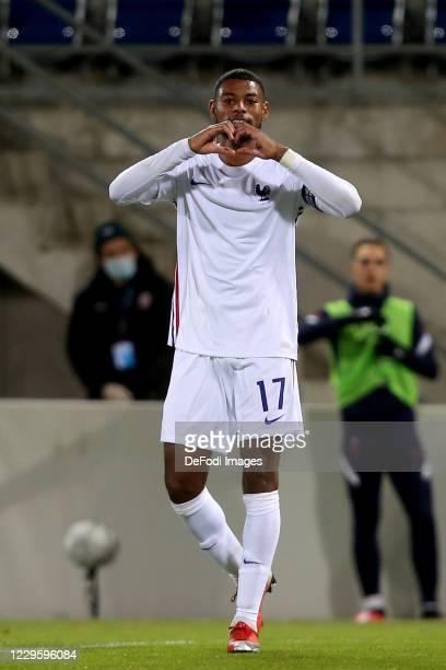Jeff Reine-Adelaide of France U21 celebrates after scoring his team's fourth goal during the UEFA Euro Under 21 Qualifier match between Liechtenstein...
