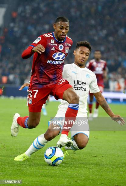 Jeff Reine-Adelaide of Lyon, Boubacar Kamara of Marseille during the Ligue 1 match between Olympique de Marseille and Olympique Lyonnais at Stade...