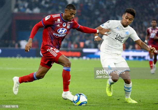 Jeff Reine-Adelaide of Lyon, Boubacar Kamara of Marseille during the Ligue 1 match between Olympique de Marseille and Olympique Lyonnais at Stade...