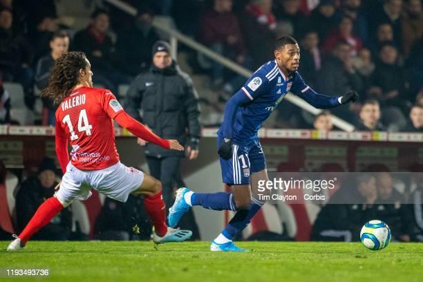 December 6: Jeff Reine-Adelaide of Lyon defended by Antoine Valerio of Nimes during the Nimes V Lyon, French Ligue 1, regular season match at Stade...