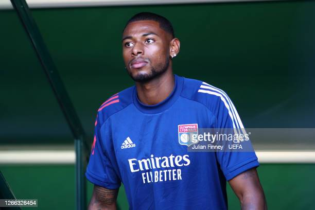 Jeff Reine-Adelaide of Olympique Lyon looks on prior to the Olympique Lyonnais Training Session ahead of the UEFA Champions League match between...