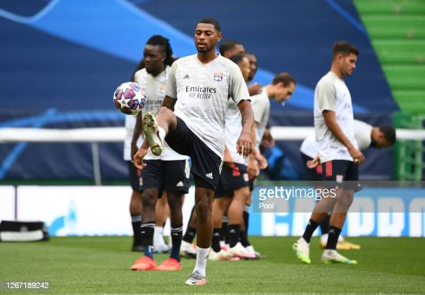 Jeff Reine-Adelaide of Olympique Lyonnais warms up prior to the UEFA Champions League Semi Final match between Olympique Lyonnais and Bayern Munich...
