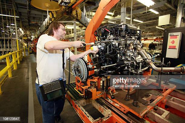 Jeff Renaud inspects torque settings for a Chrysler Minivan at the Chrysler Windsor Assembly plant in Windsor Ontario on Tuesday January 18 2011...
