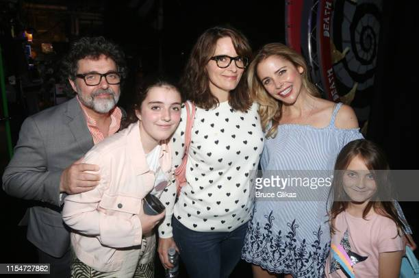 Jeff Richmond Alice Zenobia Richmond Tina Fey Kerry Butler and Penelope Athena Richmond pose backstage at the hit musical based on the film...