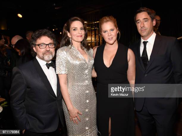 Jeff Richmond Tina Fey Amy Schumer and Chris Fischer pose backstage during the 72nd Annual Tony Awards at Radio City Music Hall on June 10 2018 in...