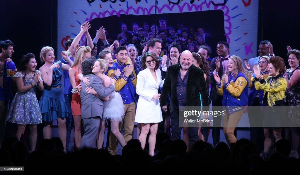 Jeff Richmond Tina Fey And Casey Nicholaw With Cast During The Broadway Opening Night Performance