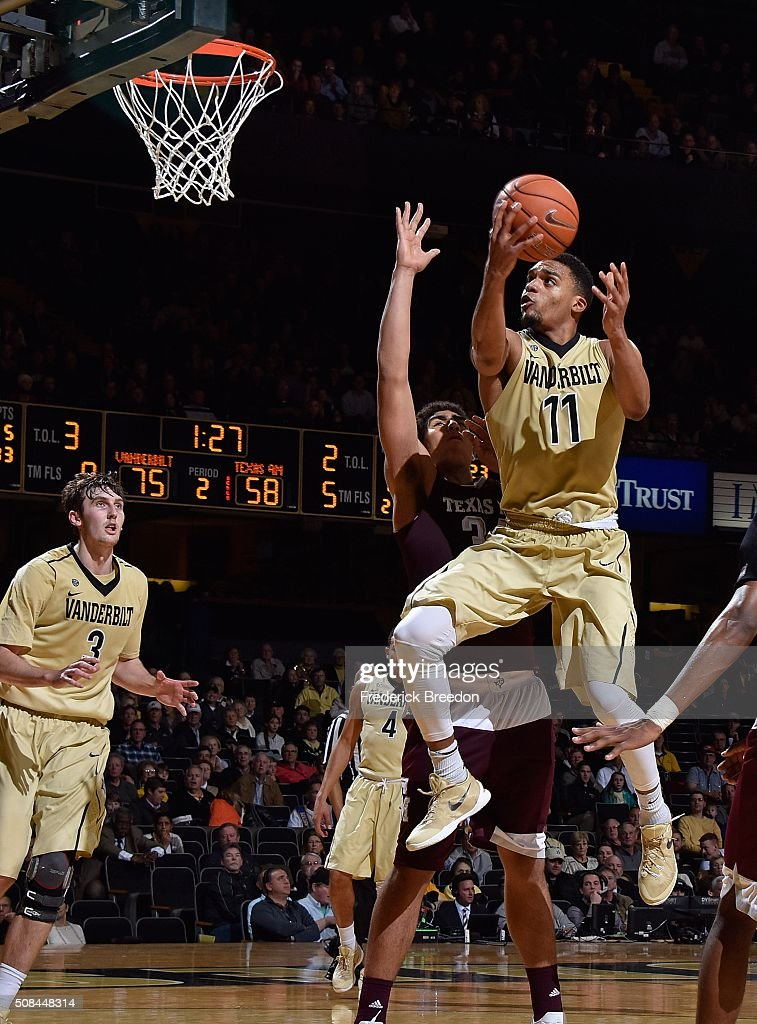 Jeff Roberson #11 of the Vanderbilt Commodores takes a shot during the second half of a 77-60 Vanderbilt upset of Texas A&M at Memorial Gym on February 4, 2016 in Nashville, Tennessee.