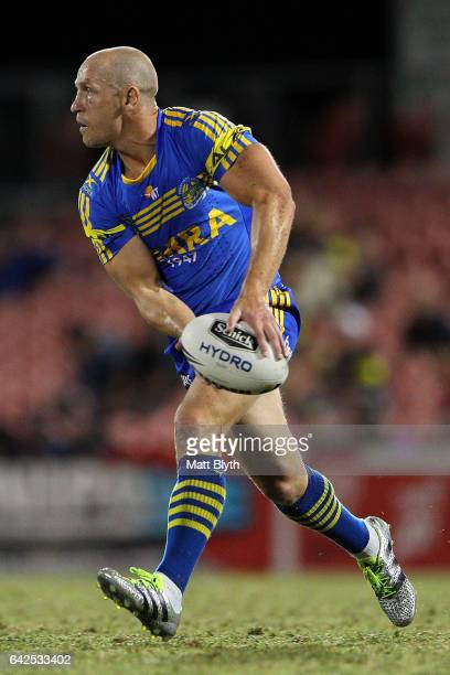 Jeff Robson of the Eels offloads the ball during the NRL Trial match between the Penrith Panthers and Parramatta Eels at Pepper Stadium on February...