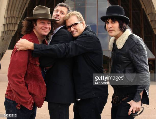 Jeff Ross Adam Hills Drew Carey and Noel Fielding pose during the 'Just For Laughs' Sydney Media Call at Sydney Opera House on October 18 2012 in...