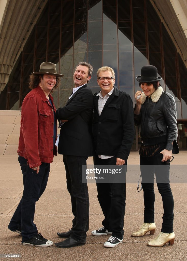 Jeff Ross, Adam Hills, Drew Carey and Noel Fielding pose during the 'Just For Laughs' Sydney Media Call at Sydney Opera House on October 18, 2012 in Sydney, Australia.