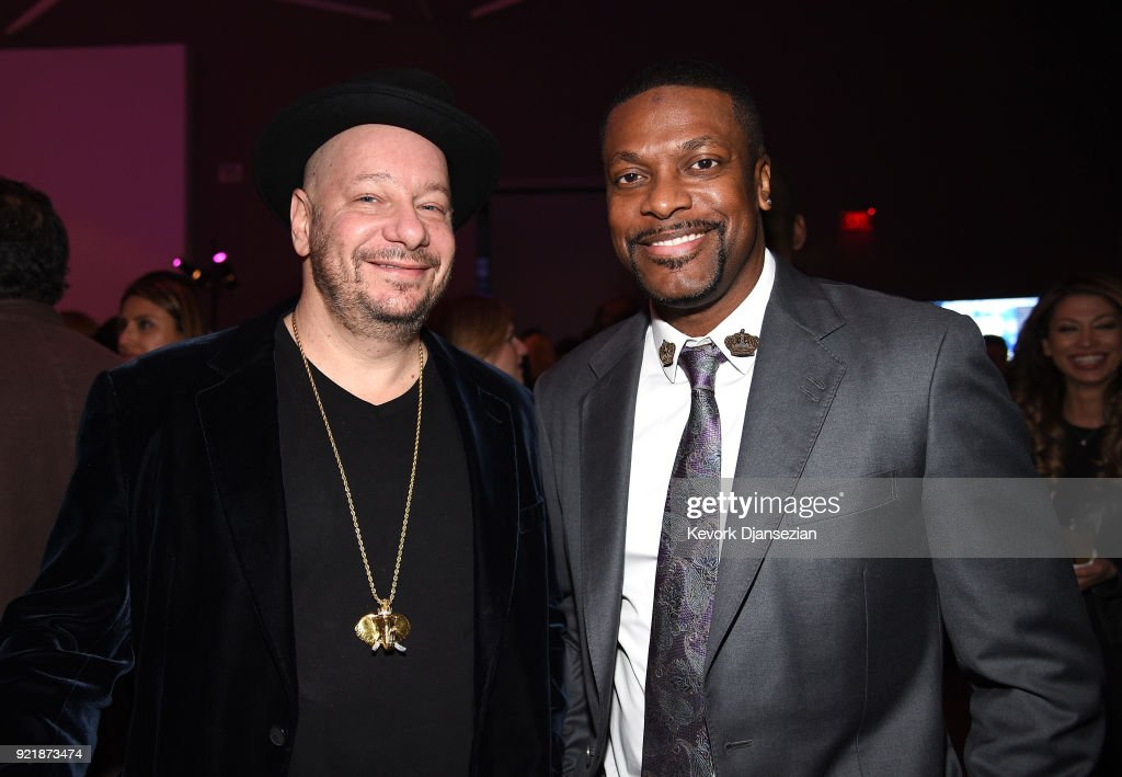 Jeff Ross (L) and Chris Tucker at will.i.am's i.am.angel Foundation TRANS4M 2018 Gala, Honoring Sean Parker, Chairman, Parker Institute for Cancer Immunotherapy at Milk Studios on February 20, 2018 in Hollywood, California.