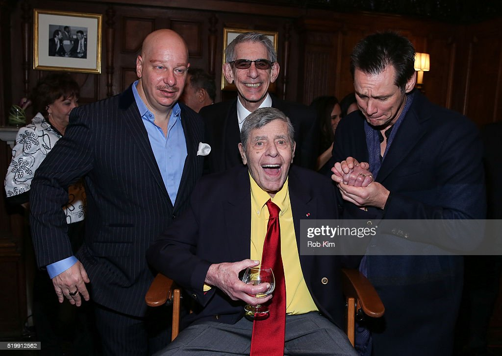 Jeff Ross, Richard Belzer, Jerry Lewis and Jim Carrey attend the 90th Birthday Celebration of Jerry Lewis at The Friars Club on April 8, 2016 in New York City.