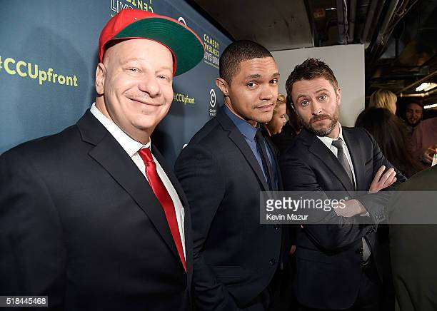 Jeff Ross Trevor Noah and Chris Hardwick attend the Comedy Central Live 2016 Upfront presentation at Town Hall on March 31 2016 in New York City