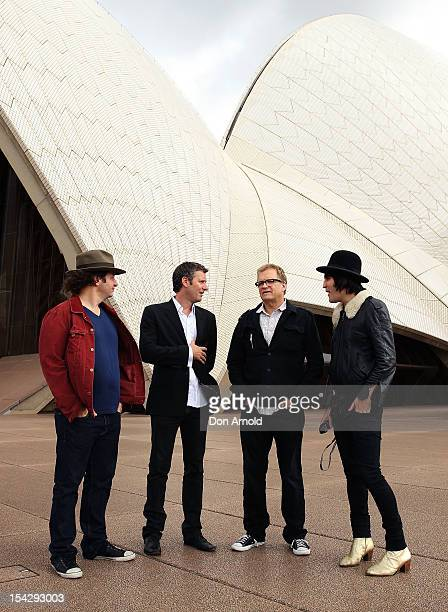 Jeff RossAdam Hills Drew Carey and Noel Fielding pose during the 'Just For Laughs' Sydney Media Call at Sydney Opera House on October 18 2012 in...