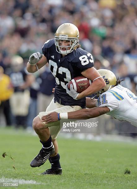 Jeff Samardzija of Notre Dame Fighting Irish runs with the ball after a reception during the game against UCLA Bruins at Notre Dame Stadium on...