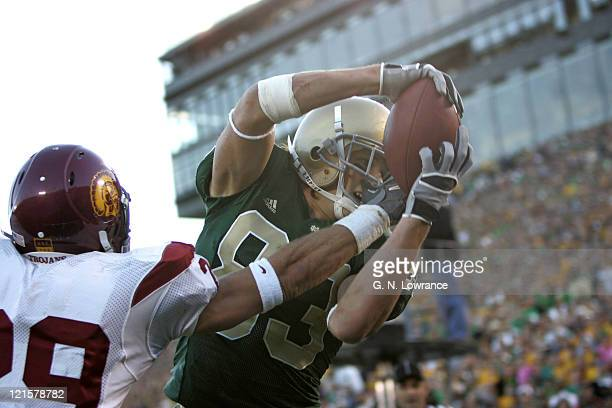 Jeff Samardzija of Notre Dame makes a reception against the USC Trojans at Notre Dame Stadium in South Bend Indiana on October 15 2005 USC won 3431