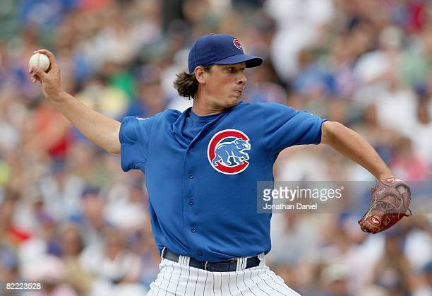 Jeff Samardzija of the Chicago Cubs pitches against the Houston Astros on August 6 2008 at Wrigley Field in Chicago Illinois The Cubs defeated the...