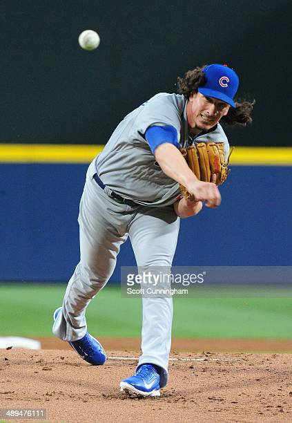 Jeff Samardzija of the Chicago Cubs throws a 1st inning pitch against the Atlanta Braves at Turner Field on May 10 2014 in Atlanta Georgia