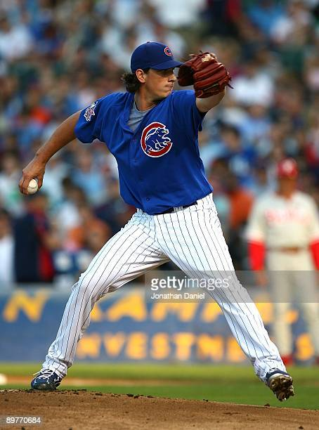 Jeff Samardzija of the Chicago Cubs throws a pitch in his first Major League start against the Philadelphia Phillies on August 12 2009 at Wrigley...