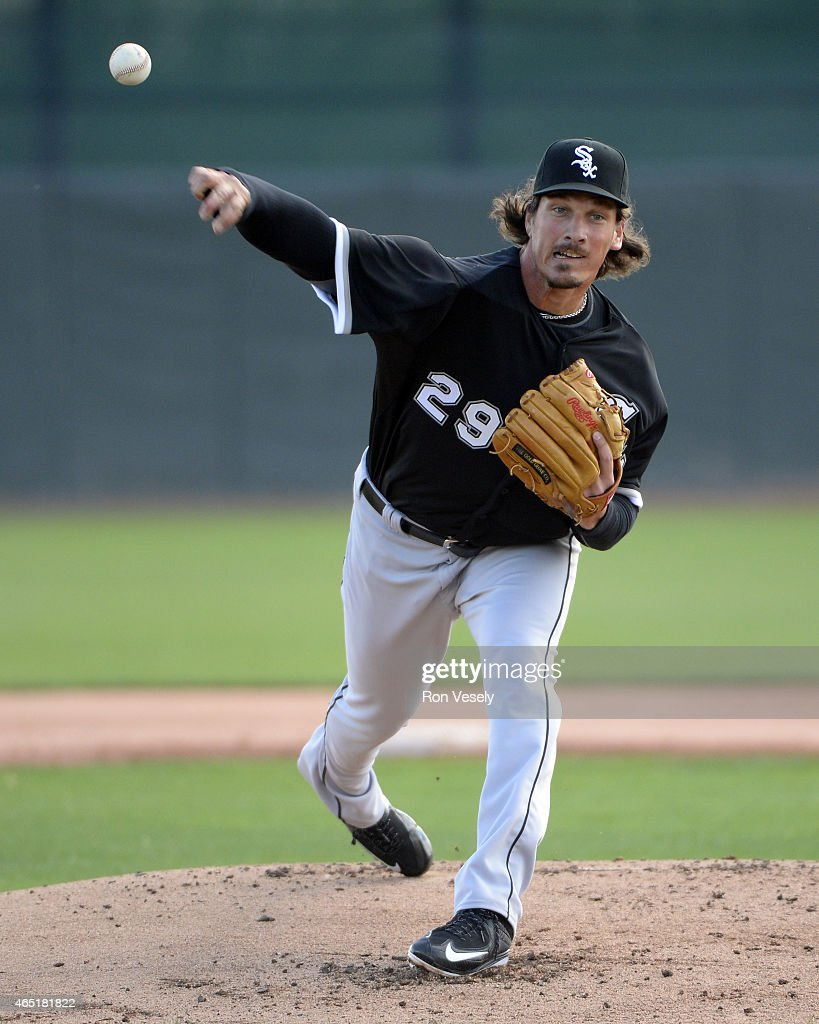 Jeff Samardzija #29 of the Chicago White Sox looks on during a spring training intrasquad game on March 3, 2015 at The Ballpark at Camelback Ranch in Glendale, Arizona.