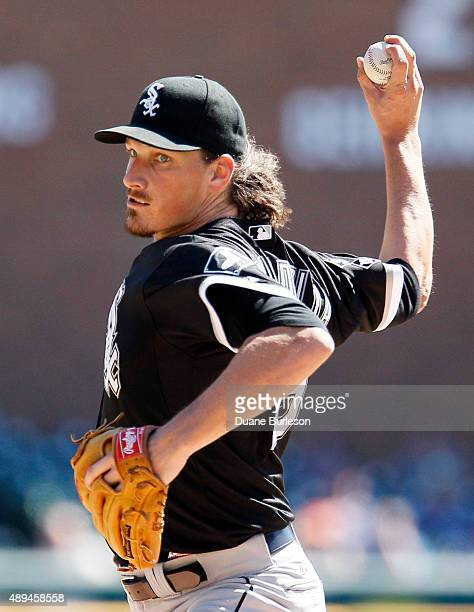 Jeff Samardzija of the Chicago White Sox pitches against the Detroit Tigers during the first inning at Comerica Park on September 21 2015 in Detroit...